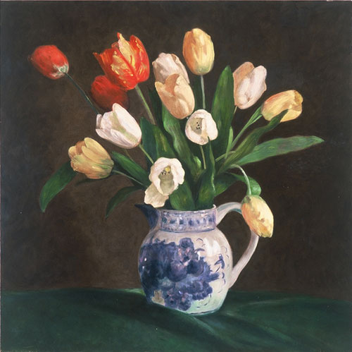 Tulips in a Delft Pitcher